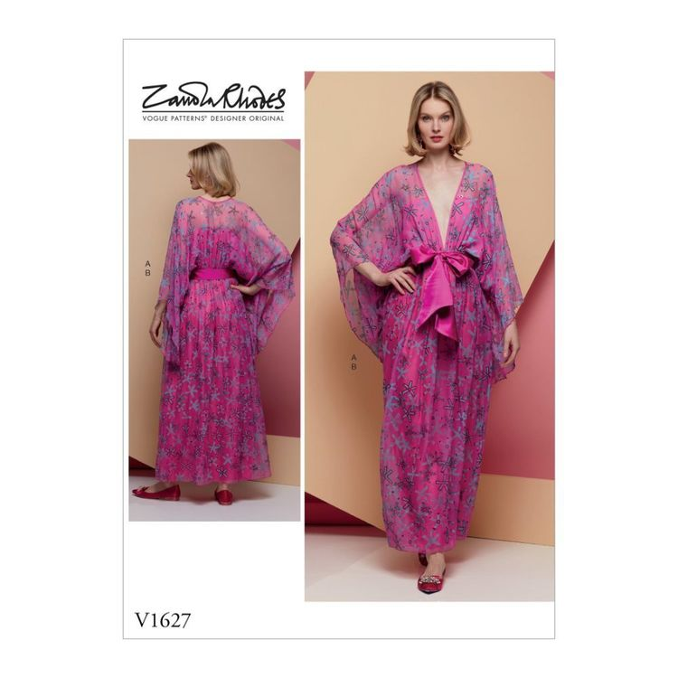 Vogue Pattern V1627 Zandra Rhodes Misses' Special Occasion Dress and Sash
