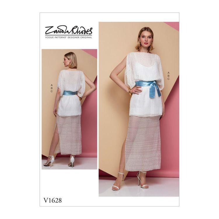 Vogue Pattern V1628 Zandra Rhodes Misses' Special Occasion Dress and Sash