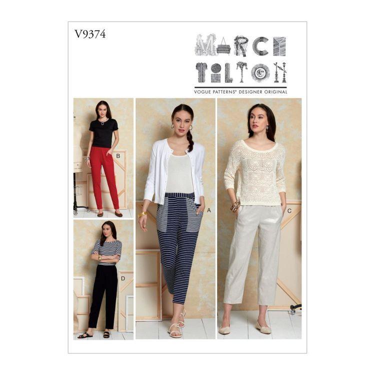 Vogue Pattern V9374 Marcy Tilton Misses' Pants
