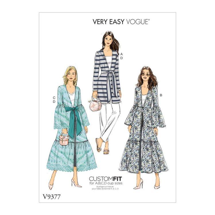 Vogue Pattern V9377 Very Easy Vogue Custom Fit Misses' Jacket and Belt