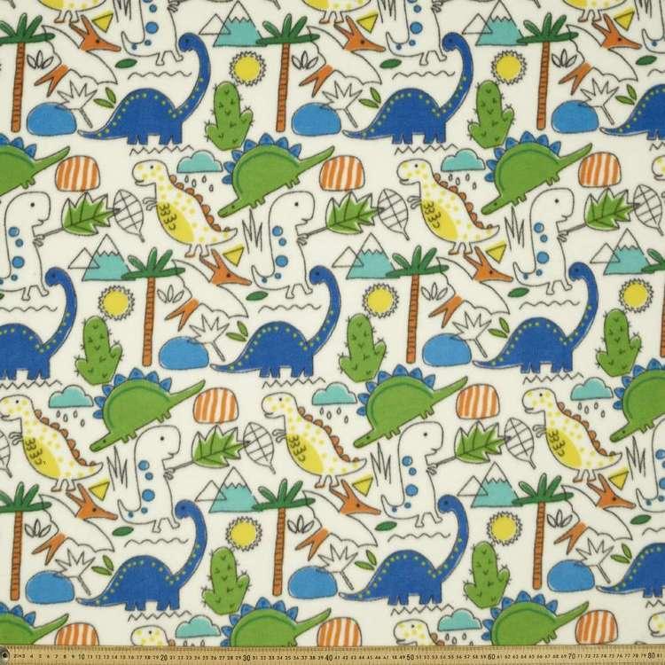 Dino Days Printed 148 cm Micro Fleece Fabric