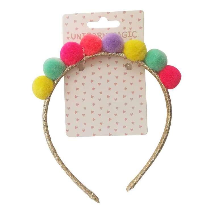 Unicorn Magic Rainbow Pom Pom Headband
