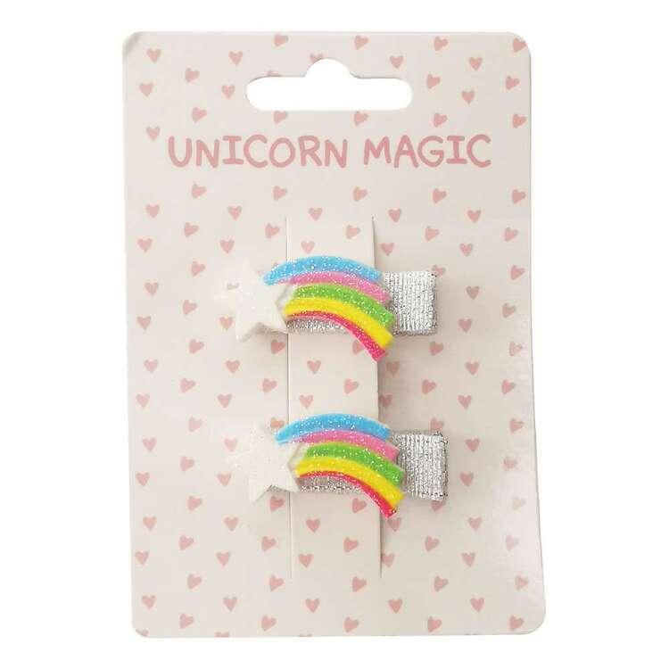 Unicorn Magic Glitter Rainbow Hair Clips 2 Pack