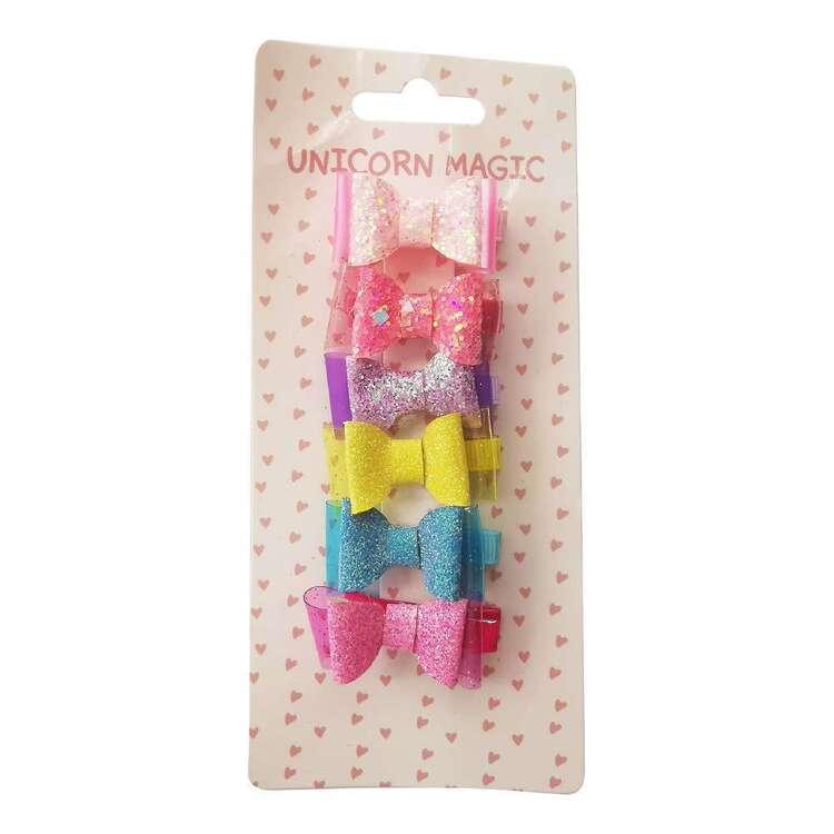 Unicorn Magic Bright Bow Hair Clips 6 Pack