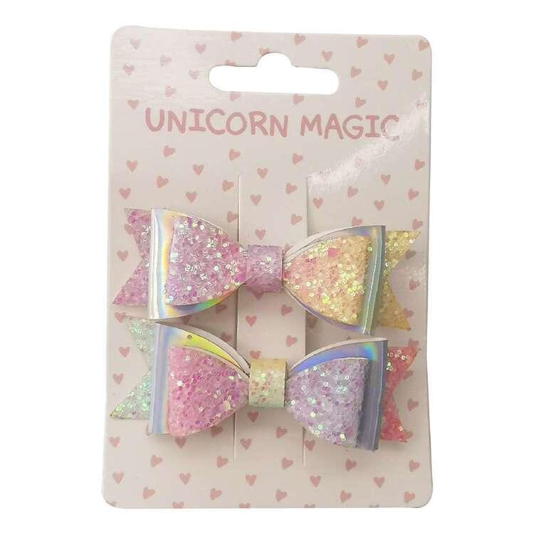 Unicorn Magic Rainbow Bow Hair Clips 2 Pack