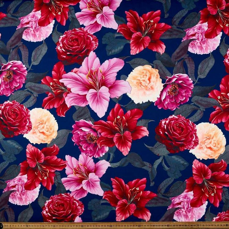 Lily Garden Printed 148 cm Ponte Double Knit Fabric