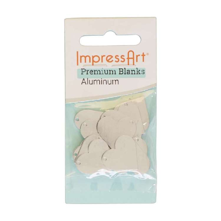 Impressart Premium Aluminium Blank Heart With Hole Silver 3/4 in