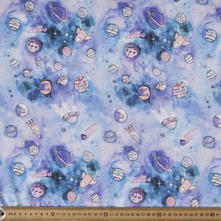 Space Printed 148 cm Charmeuse Satin Fabric