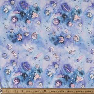 Space Printed 148 cm Charmeuse Satin Fabric