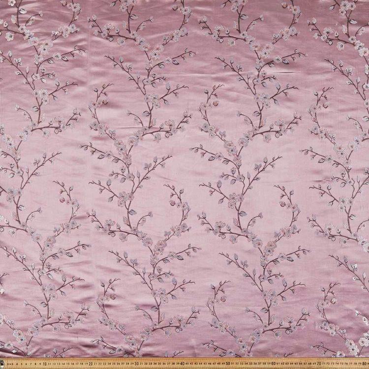Plum Blossom Printed Oriental Brocade Fabric