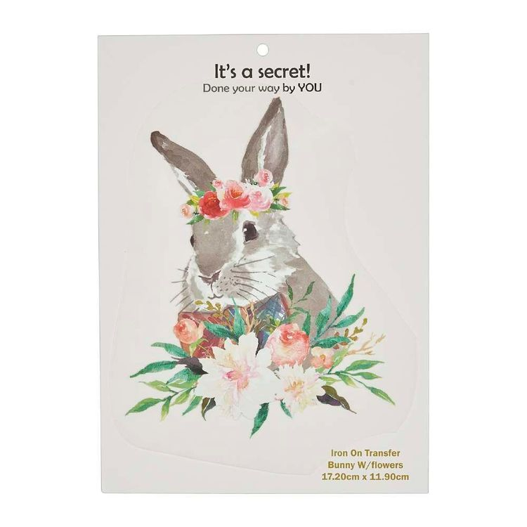Semco Bunny with Flowers Iron On Transfer