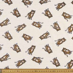 Tiger Printed 148 cm Organic Cotton Jersey Fabric