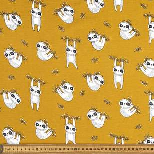 Sloth Printed 148 cm Organic Cotton Jersey Fabric