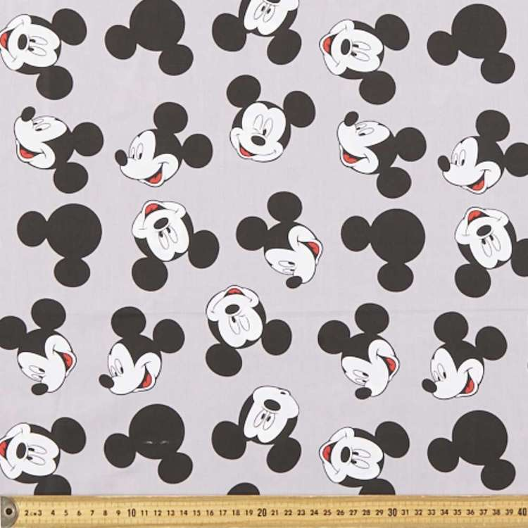 Mickey Mouse Printed Cotton Fabric Grey & Black 150 cm