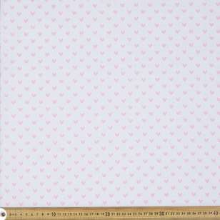 Pink Hearts On White Cotton Fabric
