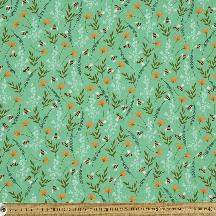 Bees Floral On Green Cotton Fabric