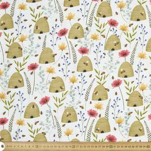 Beehive Floral On White Cotton Fabric