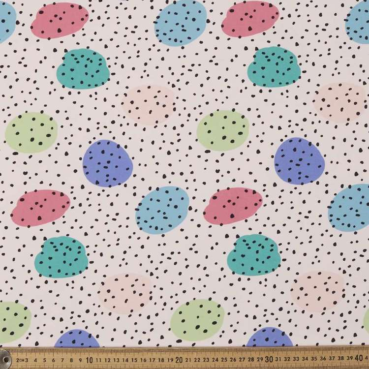 Spots Dots Printed 148 cm Soft Shell Fleece Fabric