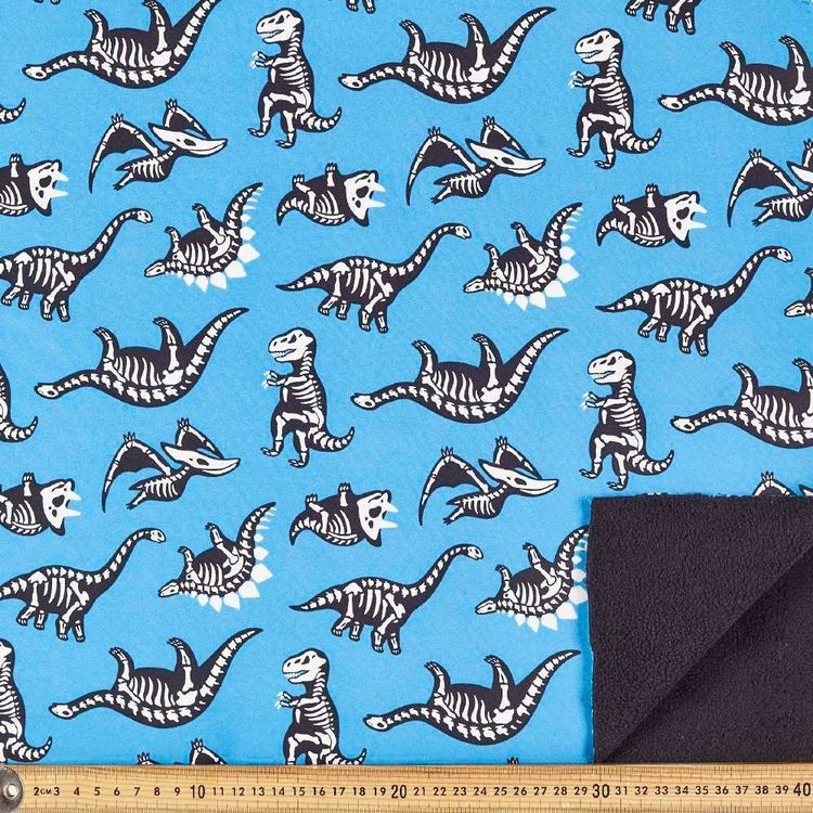 Skeleton Dino Printed 148 cm Soft Shell Fleece Fabric