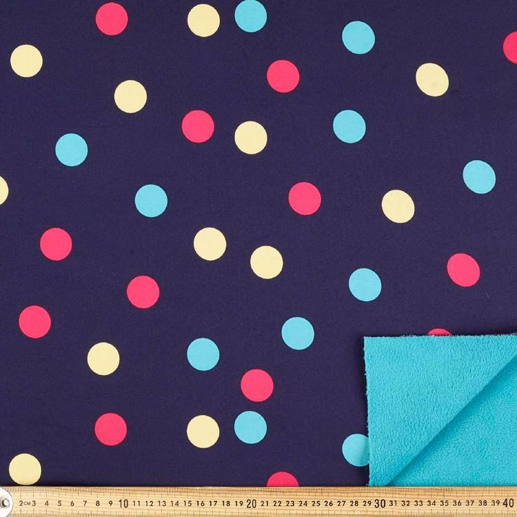 Large Spots Printed 148 cm Soft Shell Fleece Fabric