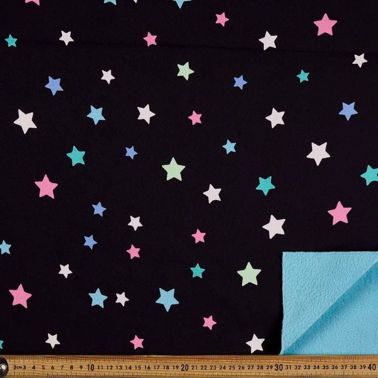 Stars Printed 148 cm Soft Shell Fleece Fabric