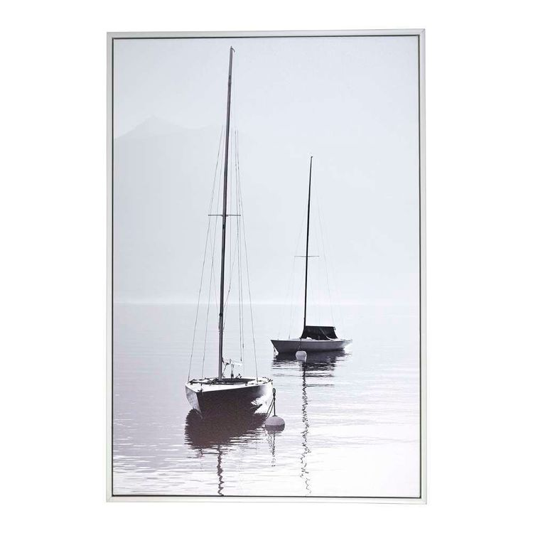 Cooper & Co Sailing Boat Framed Canvas Black & White 60 x 90 cm