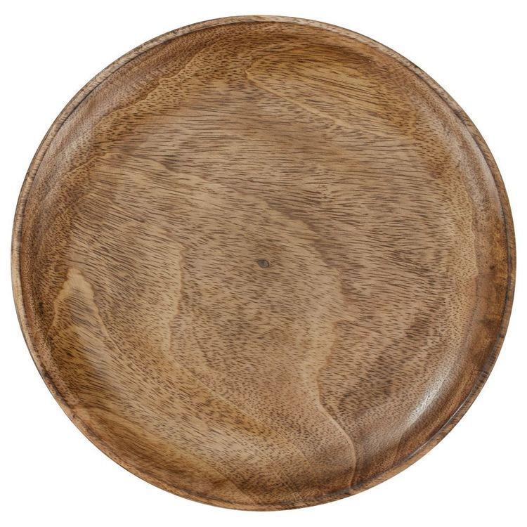 Bouclair Essence Of Green Mango Wood Round Plate