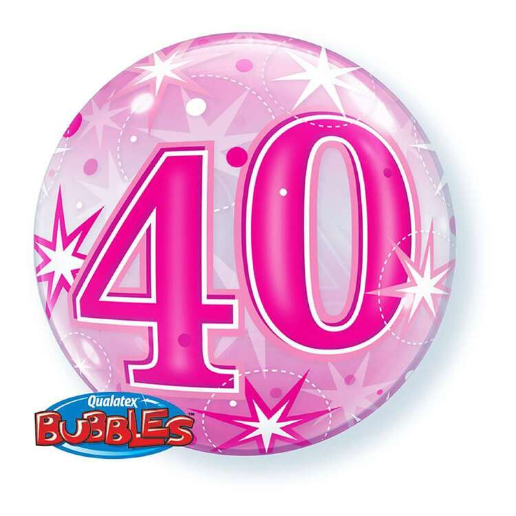 Qualatex 40th Starburst Sparkle Bubble Balloon