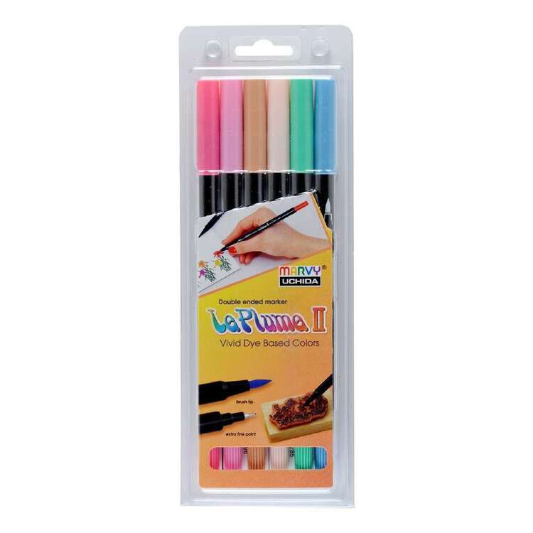 Marvy Le Plume II Double Tip Pastel Marker Set of 6