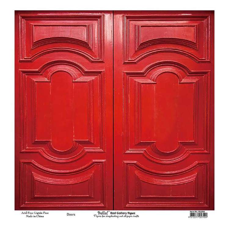 Bella! Paper World Red Gallery Doors Cardstock