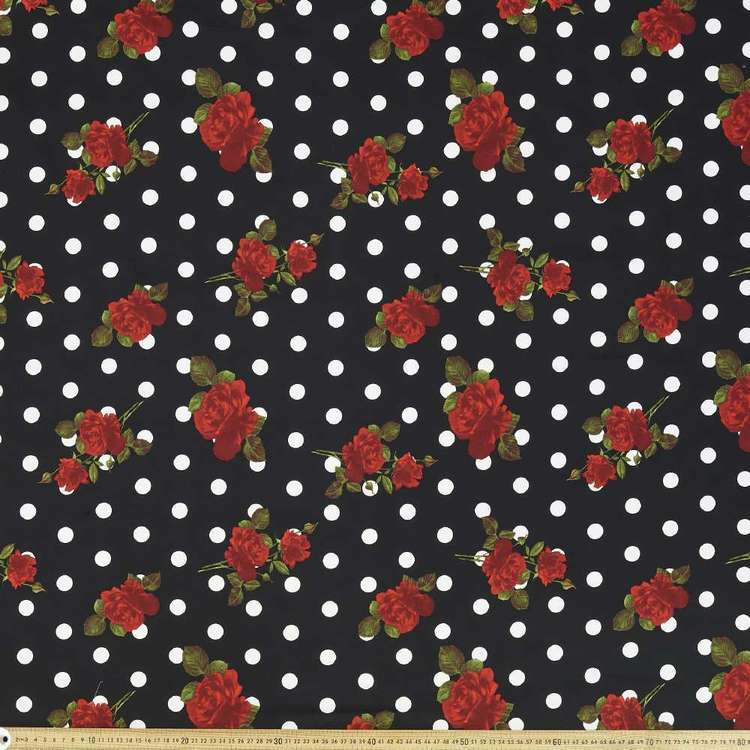 Spot The Rose Printed 127 cm Cotton Sateen Fabric Black & Red 127 cm