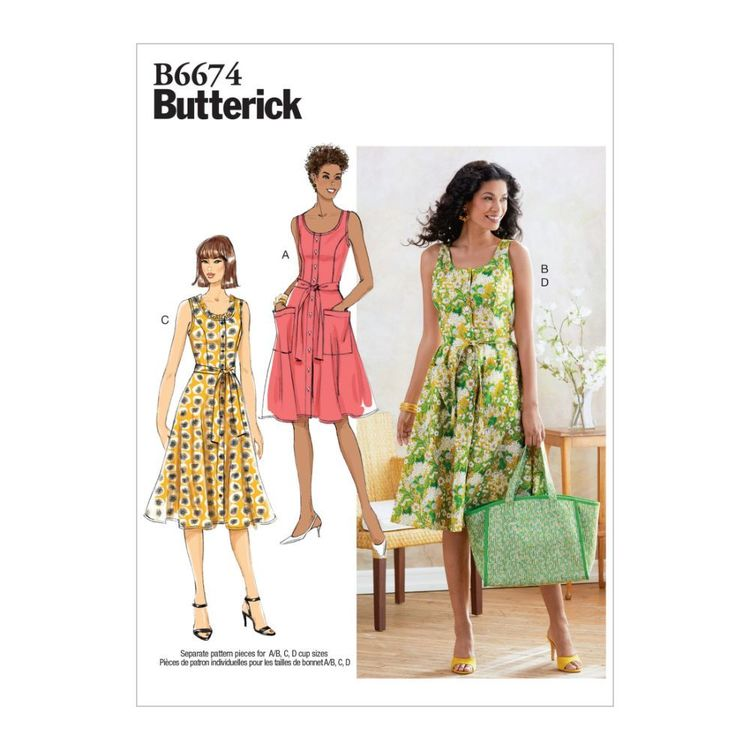 Butterick Pattern B6674 Misses' Dress, Sash and Bag