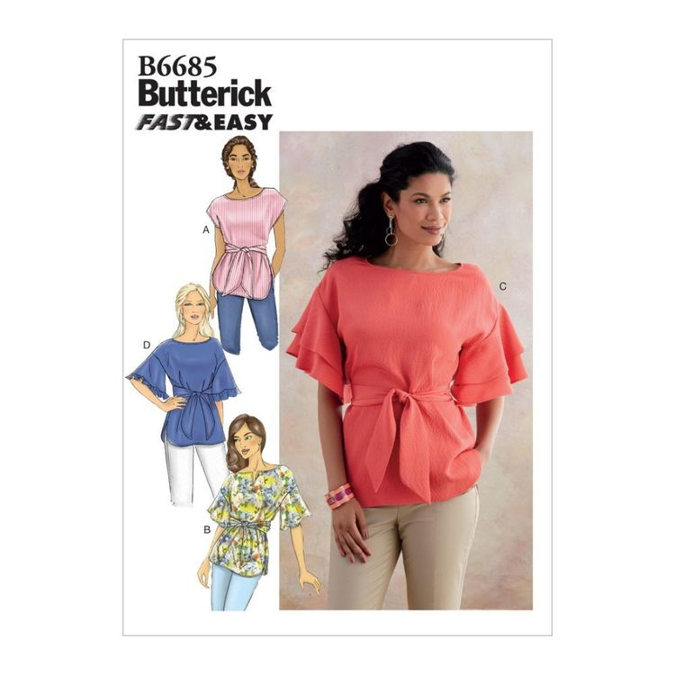 Butterick Pattern B6685 Fast & Easy Misses' Top and Sash