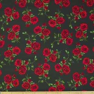 Big Rose Digital Printed 127 cm Cotton Sateen Fabric