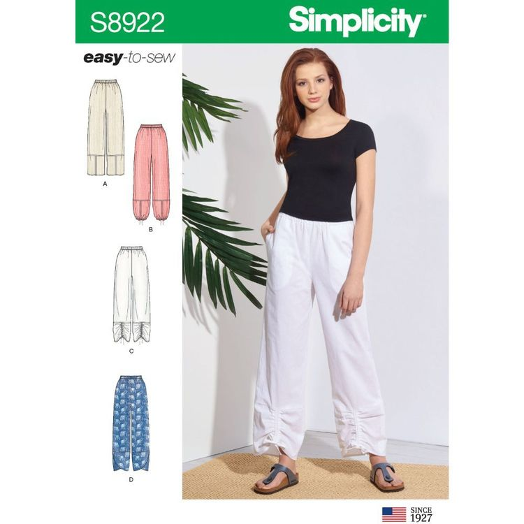 Simplicity Sewing Pattern S8922 Misses' Pull-On Pants