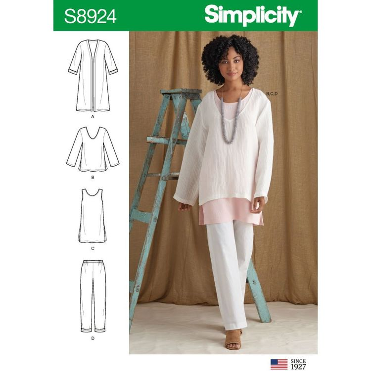 Simplicity Sewing Pattern S8924 Misses' Jacket, Top, Tunic, and Pull-On Pants