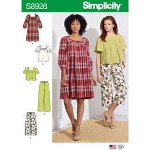 Simplicity Sewing Pattern S8926 Misses' Dress, Tops, and Pants