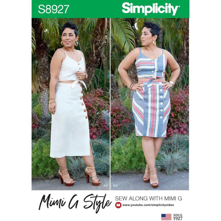 Simplicity Sewing Pattern S8927 Misses' Tie Front Tops and Skirts by Mimi G Style