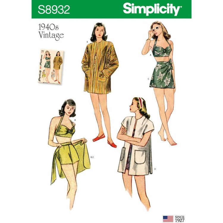 Simplicity Sewing Pattern S8932 Misses' Vintage Bikini Top, Shorts, Wrap, Skirt and Coat