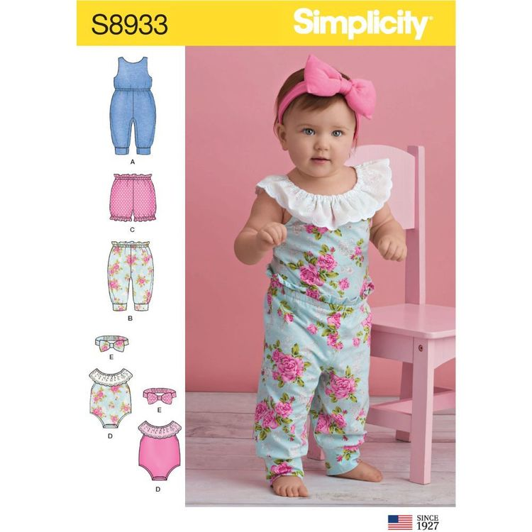 Simplicity Sewing Pattern S8933 Babies' Knit Rompers, Pants, Shorts and Headband