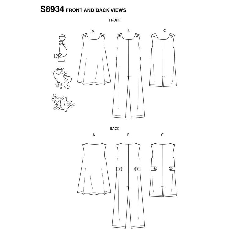 Simplicity Sewing Pattern S8934 Toddler's Jumper, Jumpsuit, and Romper 6 Months - 4 Years