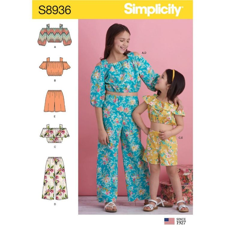 Simplicity Sewing Pattern S8936 Children's and Girl's Tops, Pants and Shorts