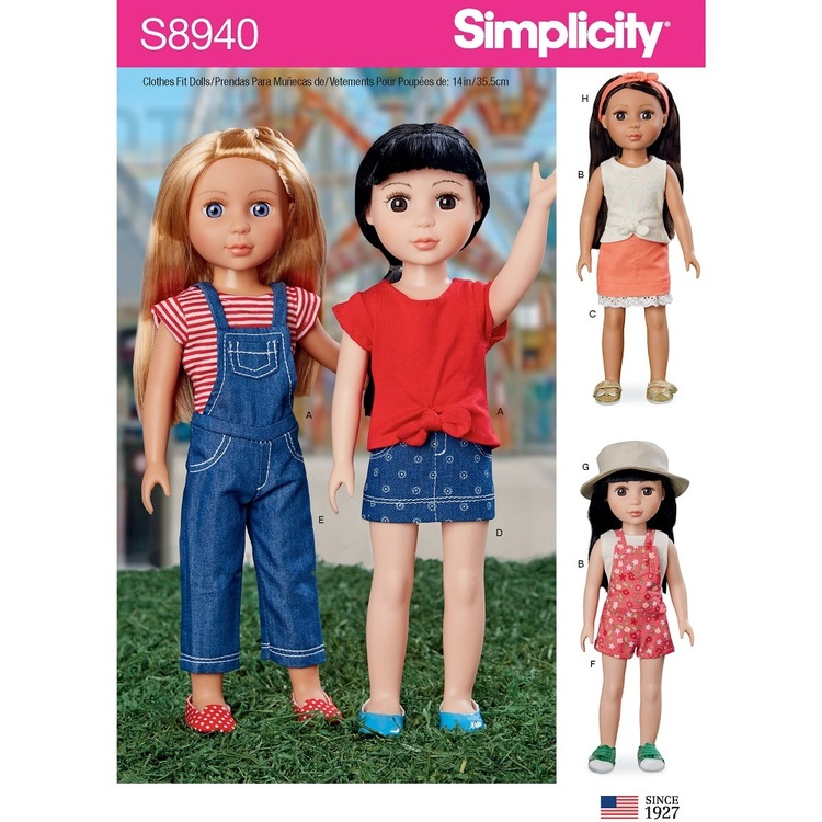 """Simplicity Pattern S8940 14"""" Dolls Clothing"""