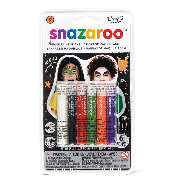 Snazaroo Halloween Face Paint Sticks 6 Pack Multicoloured