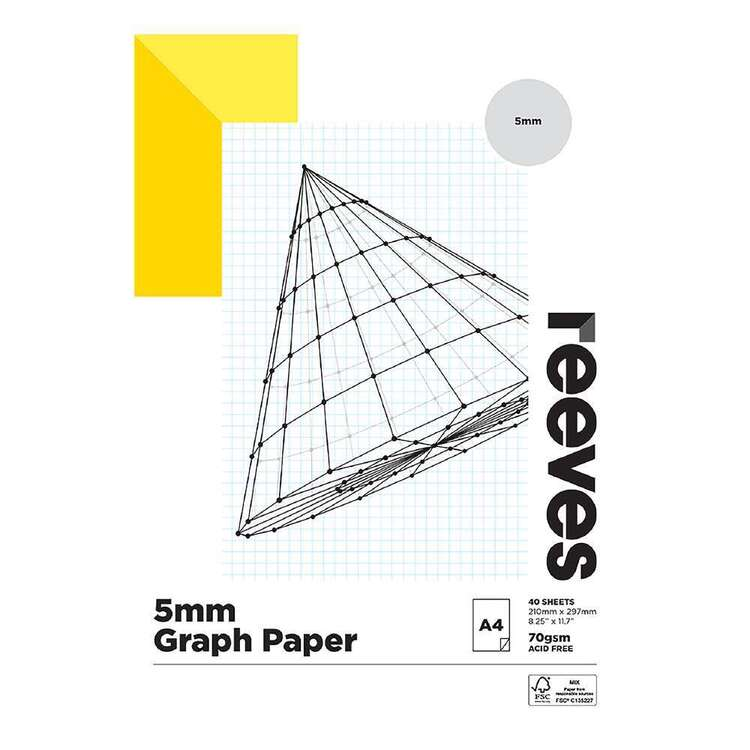 Reeves 70 gsm 5mm Grid A4 Graph Pad