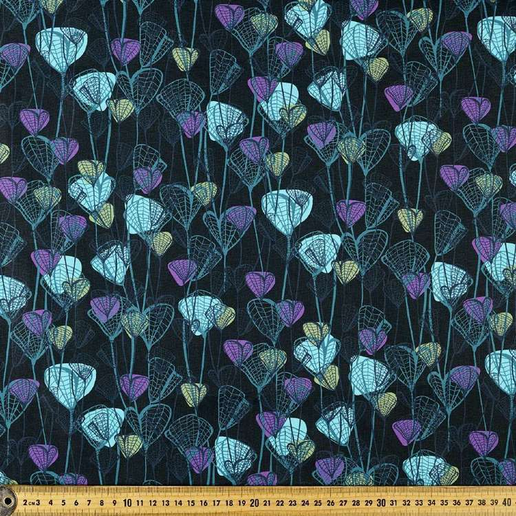 P&B Textiles Digital Forest Fancy Leaves Cotton Fabric