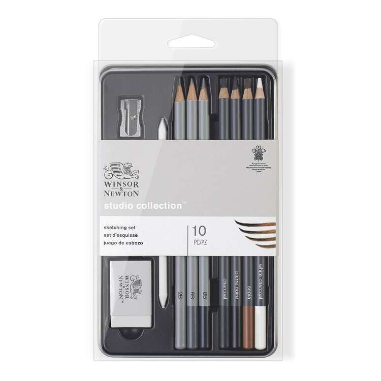 Winsor & Newton Set Of 10 Studio Sketching Pencil Tin