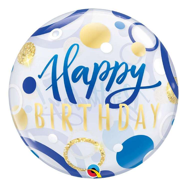 Qualatex Blue Birthday Dots Bubble Balloon
