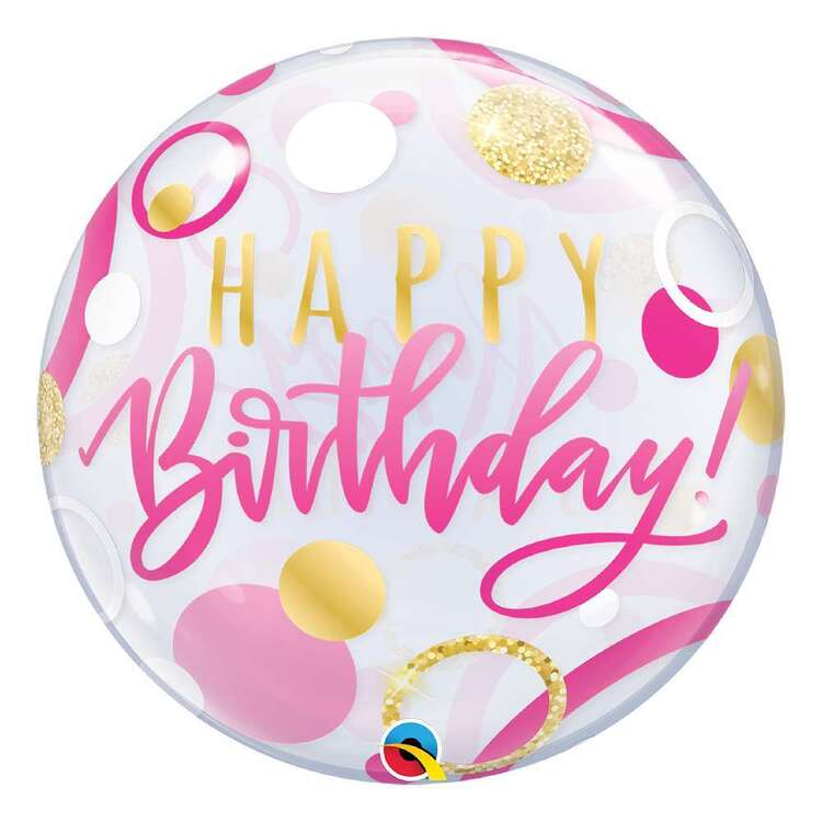 Qualatex Pink Birthday Dots Bubble Balloon