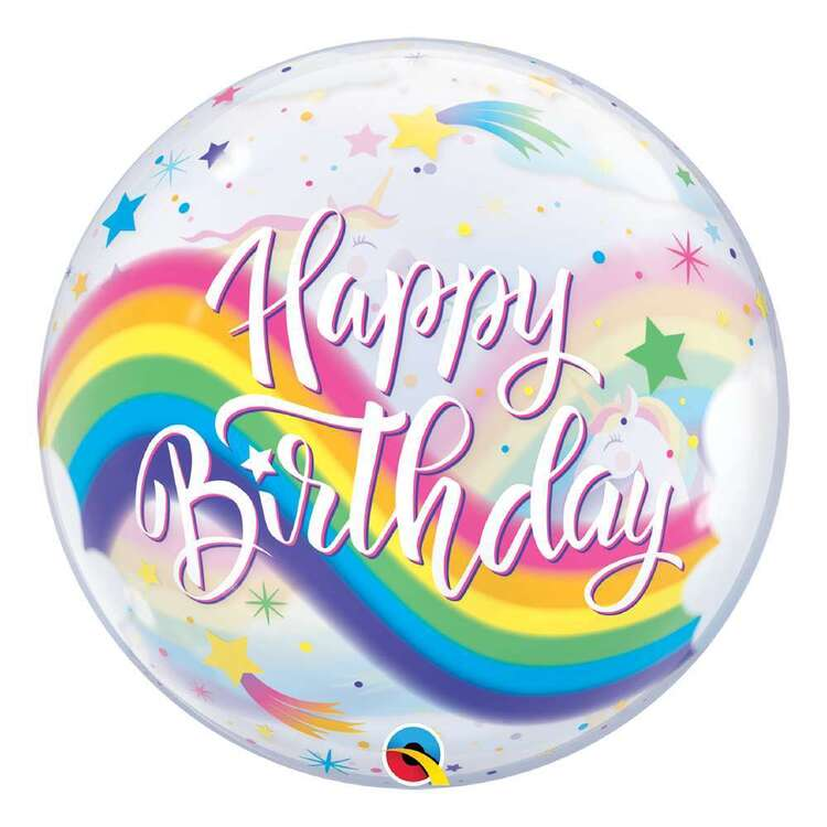 Qualatex Unicorn Happy Birthday Bubble Balloon